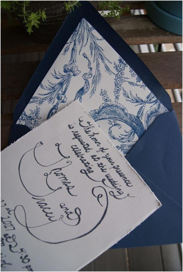 calligraphy blue and white wedding invitations
