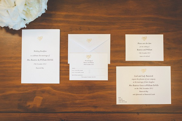 Barnard and Westwood wedding stationary