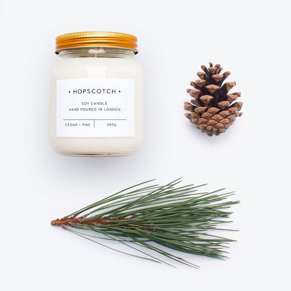 Cedar Pine Scented 100 Soy Wax Signature Hopscotch Candle
