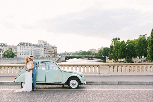 mint green 2cv wedding car Paris