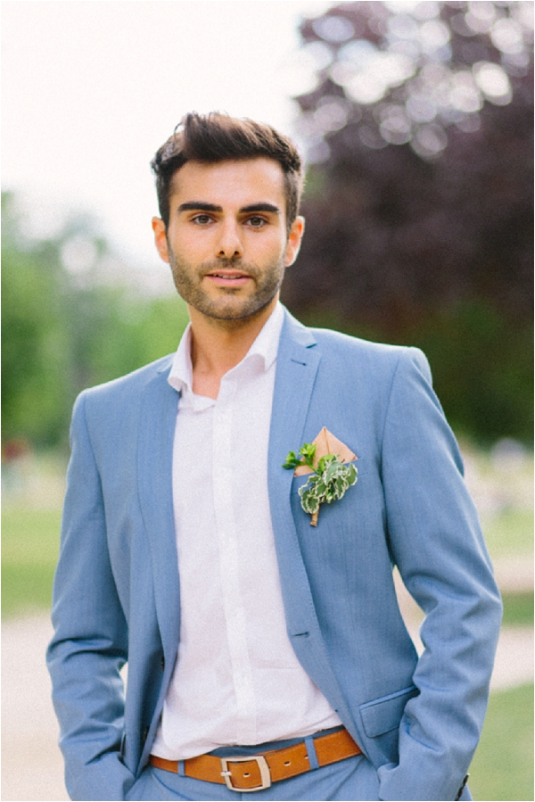 pale blue grooms suit | Image by Maya Maréchal Photography