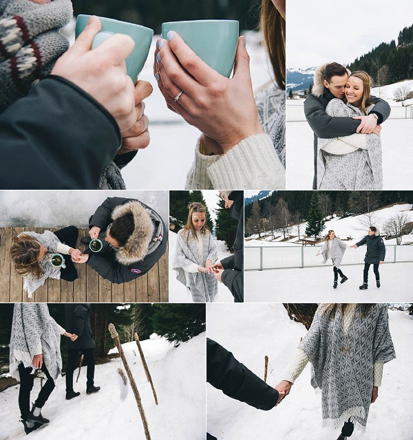 A Secret Snowy Engagement Proposal Snapshot