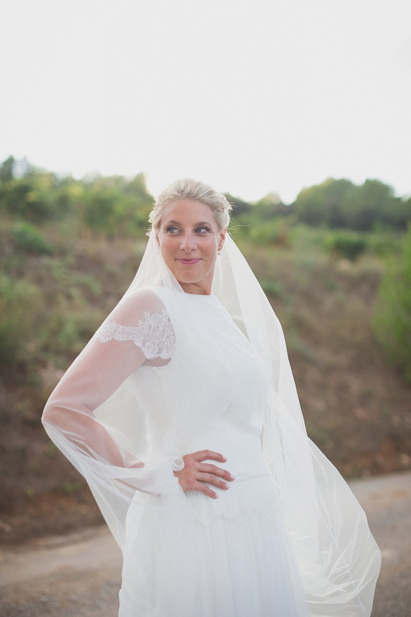 long sheer veil wedding dress duo