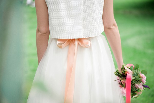 peach wedding bow