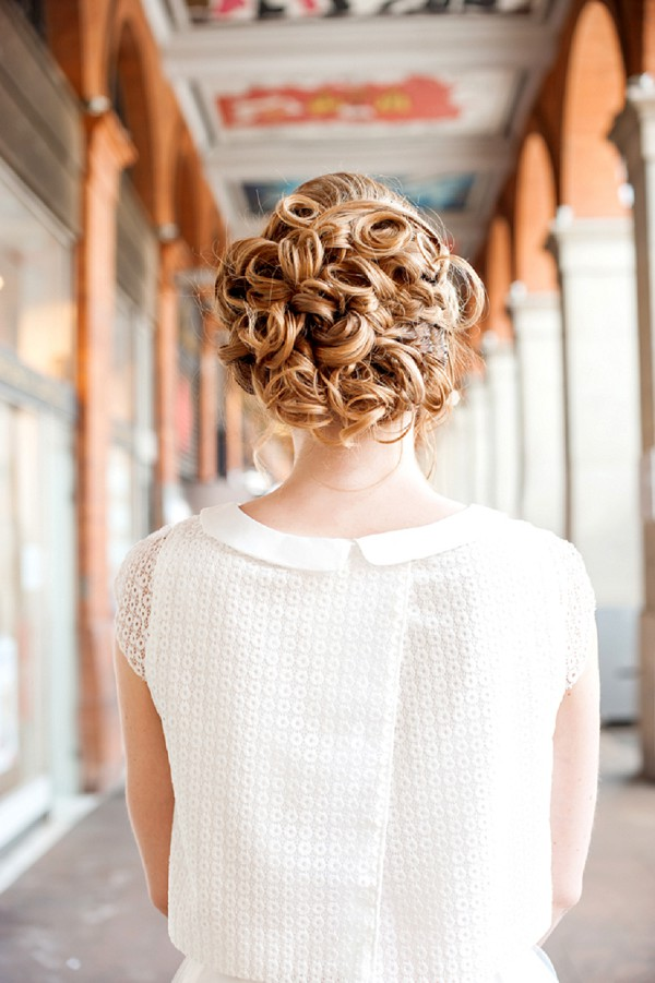tight curl updo wedding
