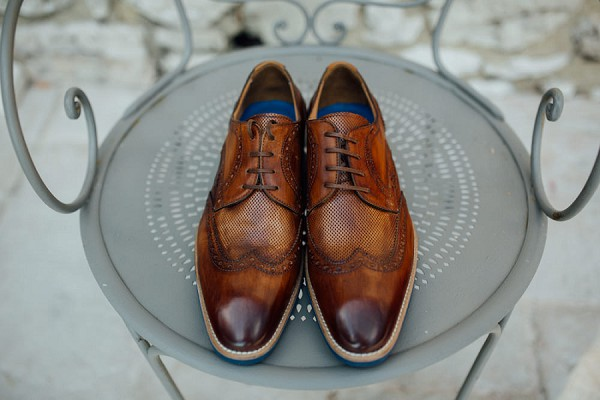 brown leather groom shoes