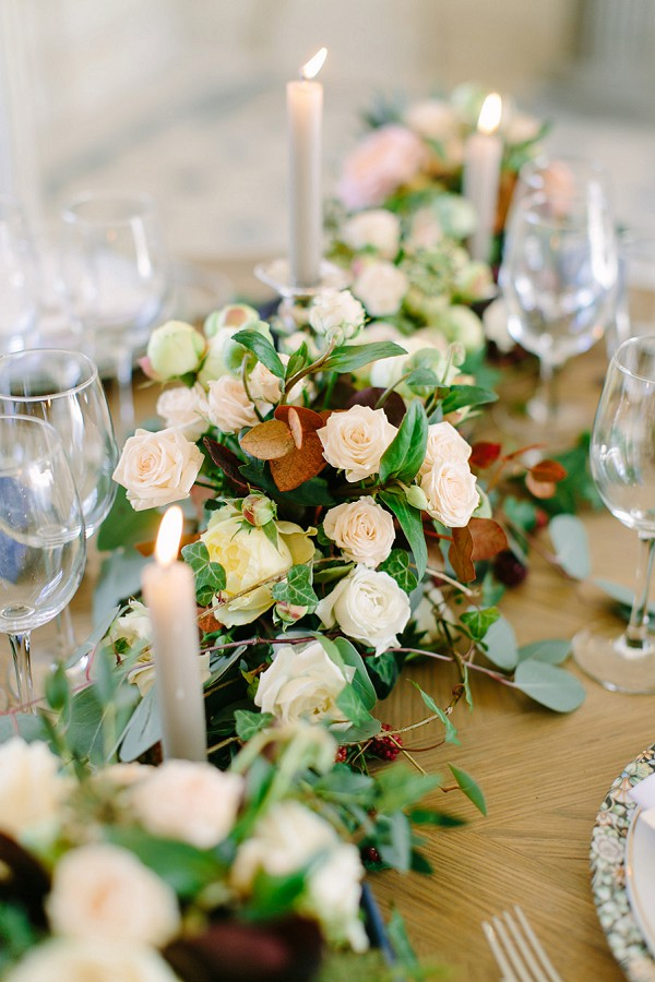 green and white wedding florals