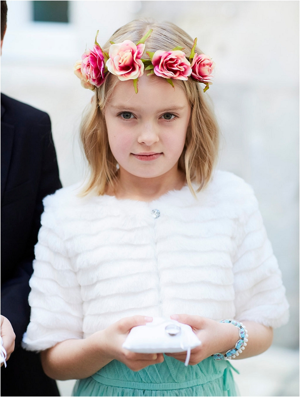 Pretty flowergirl crown and style, Image by France A Very French Wedding