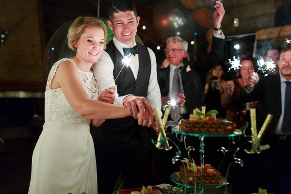 Sparklers and wedding cake