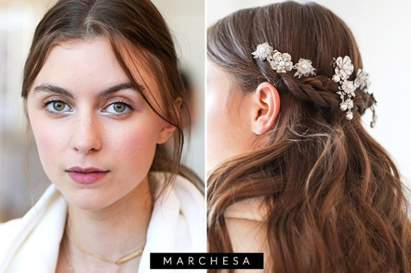 half up half down with subtle flowers bridal hair