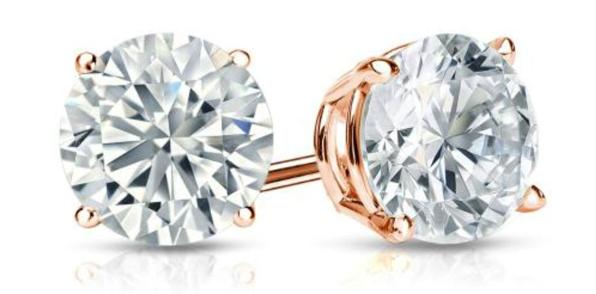 14k Rose Gold 4 Prong Basket Round Diamond Stud Earrings