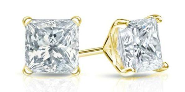 Certified 14k Yellow Gold 4 Prong Martini Princess Cut Diamond Stud Earrings