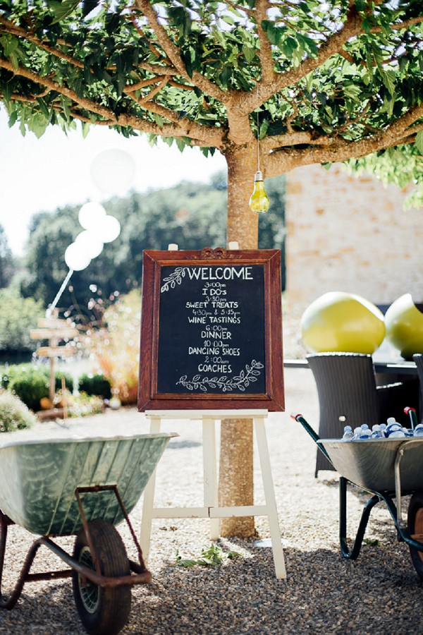 Chic chalk board wedding sign