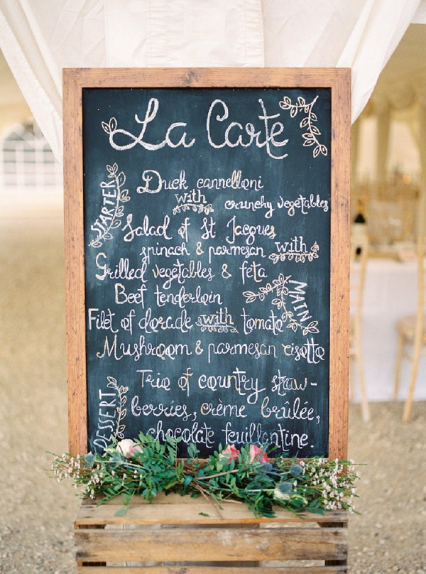 Rustic chic wedding breakfast menu