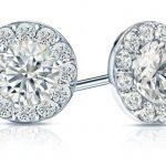 White Gold Halo Round Diamond Stud Earrings
