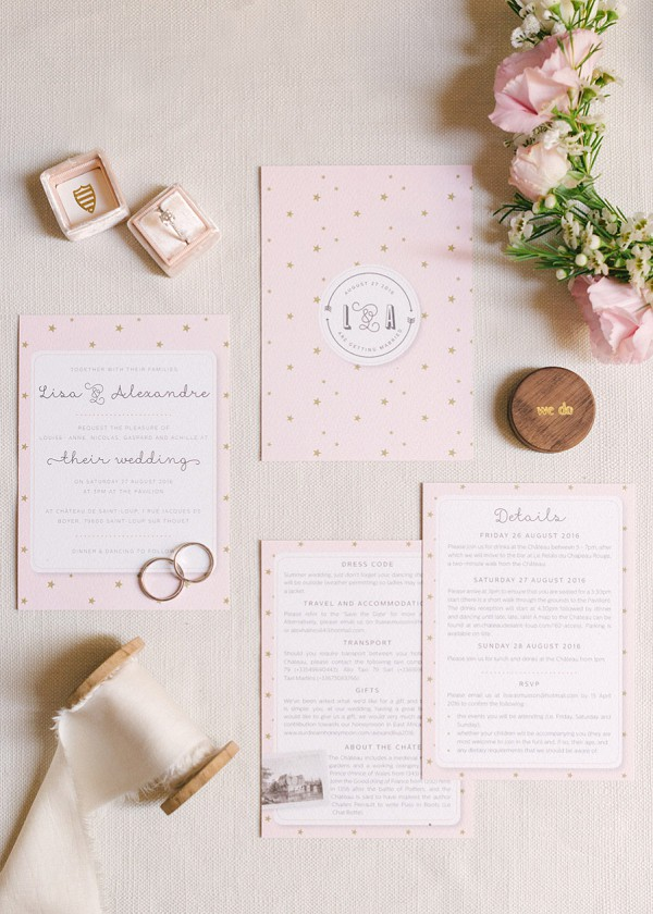 baby pink wedding stationary