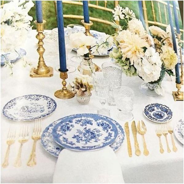 blue and white wedding style