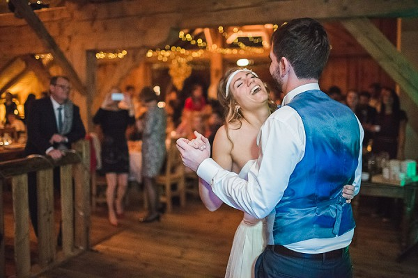 Barn and fairy lights first dance