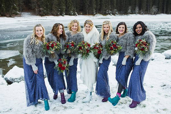 Bride and bridesmaid wellies