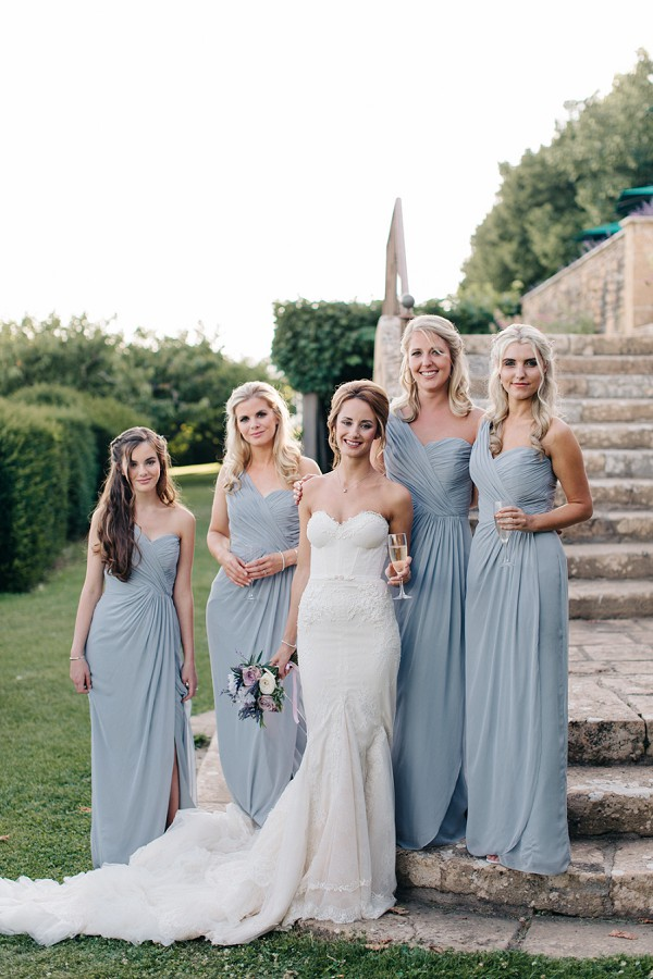 Grey blue bridesmaid gowns