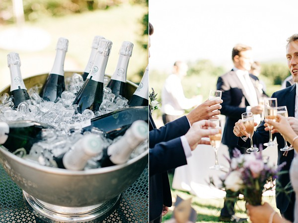 Outdoor champagne reception
