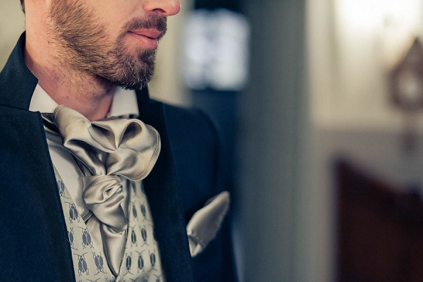 grey wedding cravat