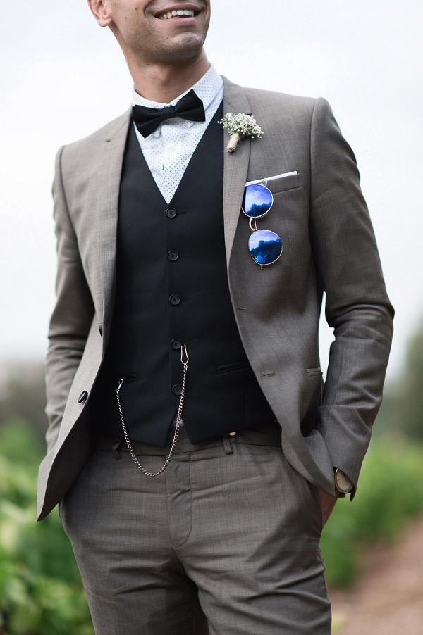groom grey and black suit