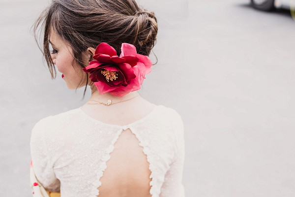 large flower wedding hair
