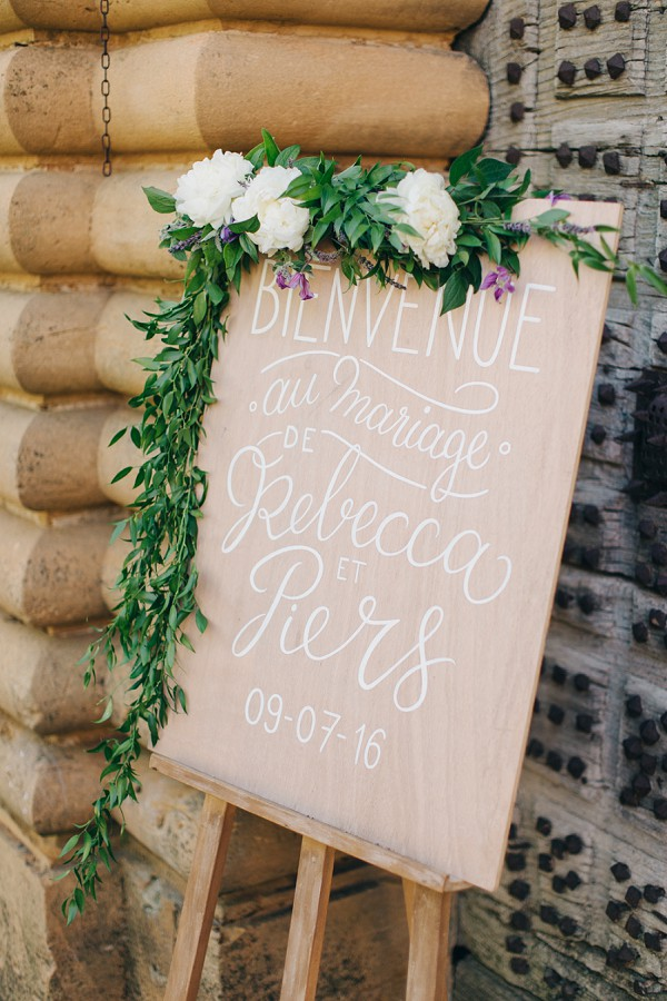 wooden wedding sign with flowers