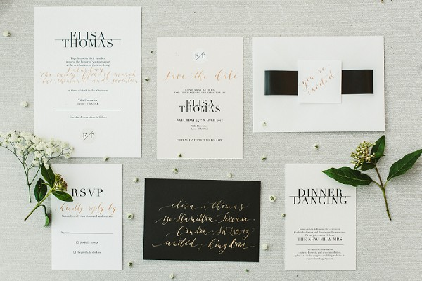 Modern clean wedding stationary