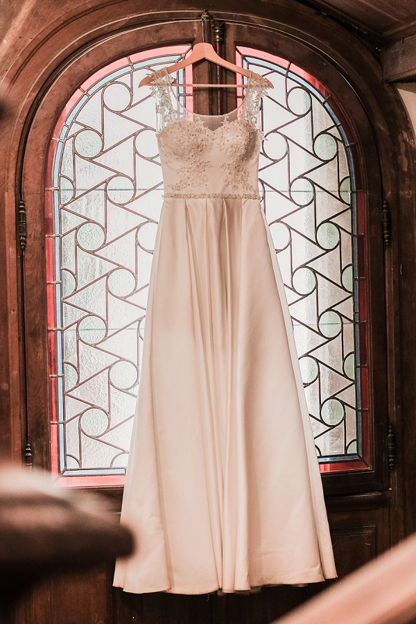 lace strap wedding gown