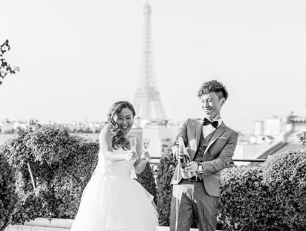 champagne toast wedding Paris