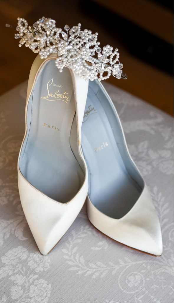 louboutin white satin wedding shoes