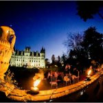 French wedding lighting ideas Chateau lit up at night