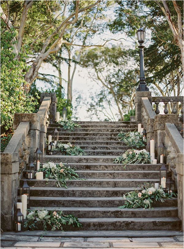 French wedding lighting ideas lanterns stairs