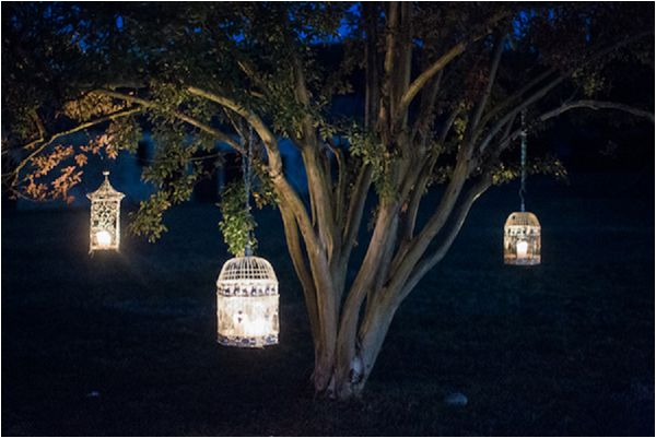 French wedding lighting ideas cages in trees