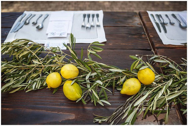 olive branch and lemon table decor