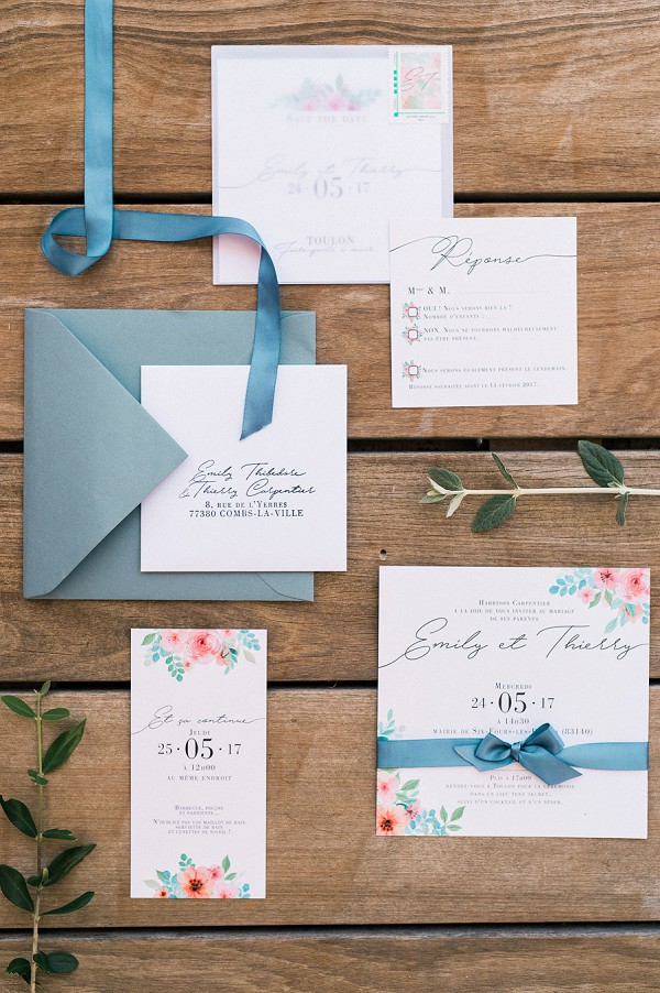 pretty wedding invite suite