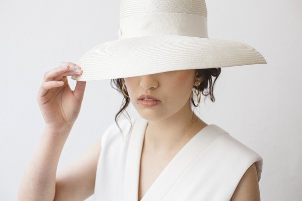 white wedding hat