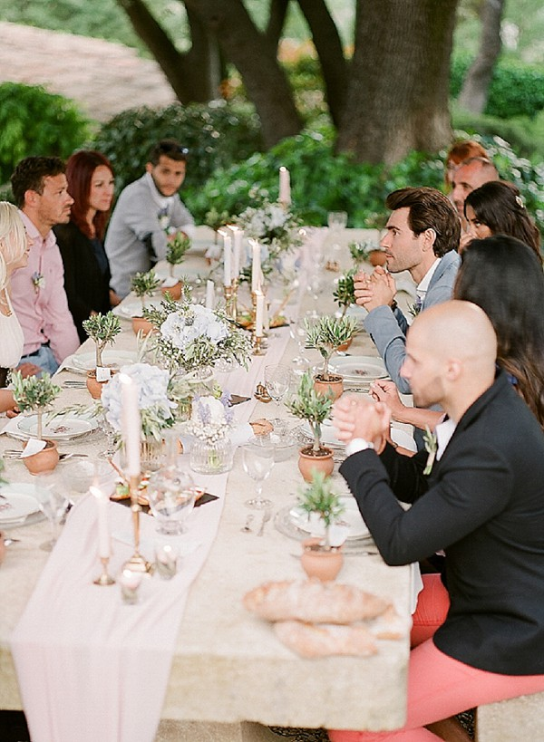 outdoor provence wedding dinner