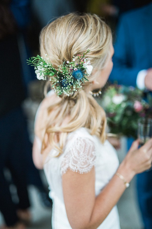 thistle wedding hair flowers