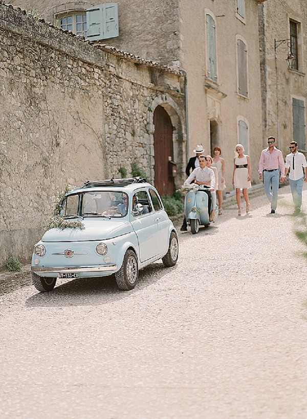 vintage light blue wedding car
