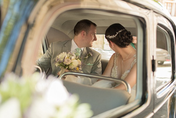vintage wedding car photo
