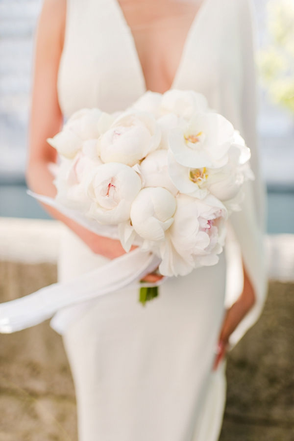 wedding bouquet white peony