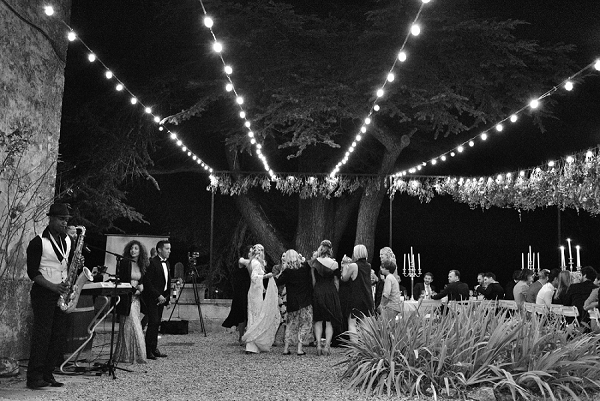 Outdoor wedding disco