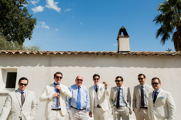 cream groomsmen suits