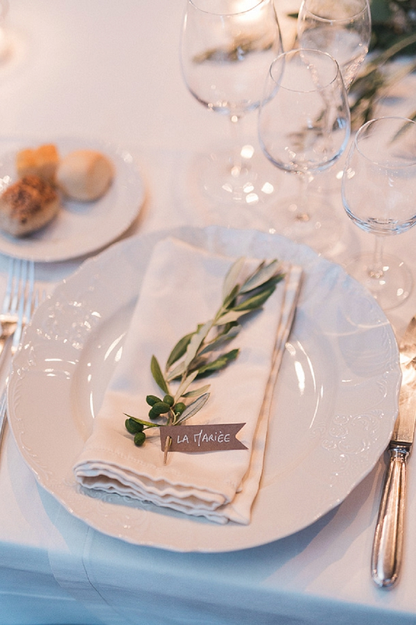 olive branch wedding table decor
