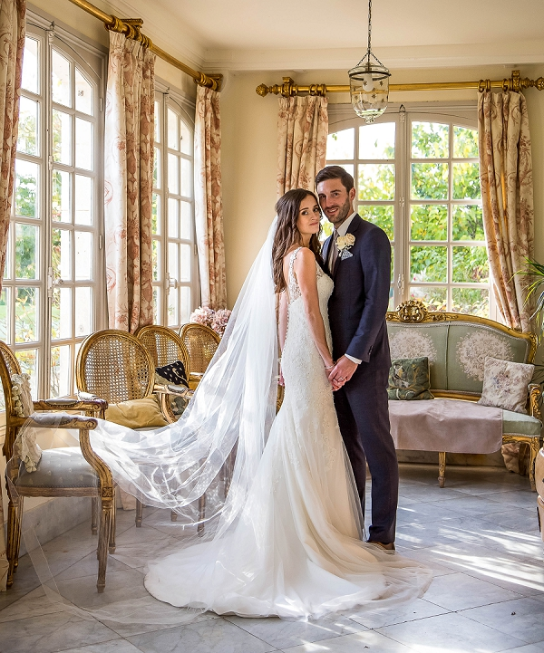 chic bride and groom portrait