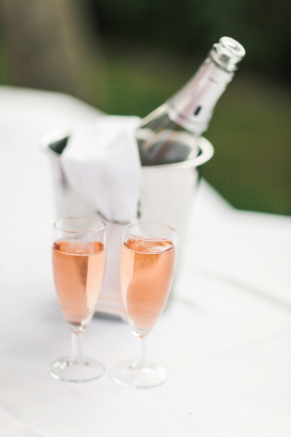 pink wedding champagne