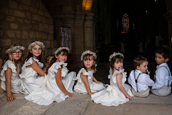 Bordeaux wedding flower girls and page boys